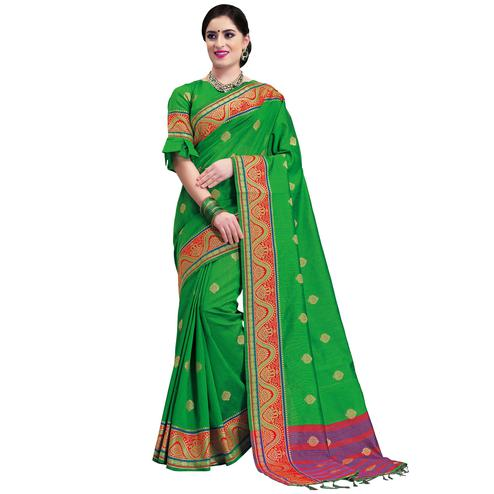 Gleaming Green Colored Festive Wear Woven Cotton Silk Saree