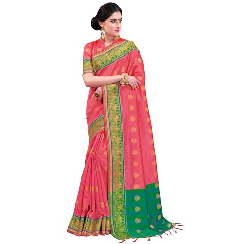 Pretty Peach Colored Festive Wear Woven Cotton Silk Saree