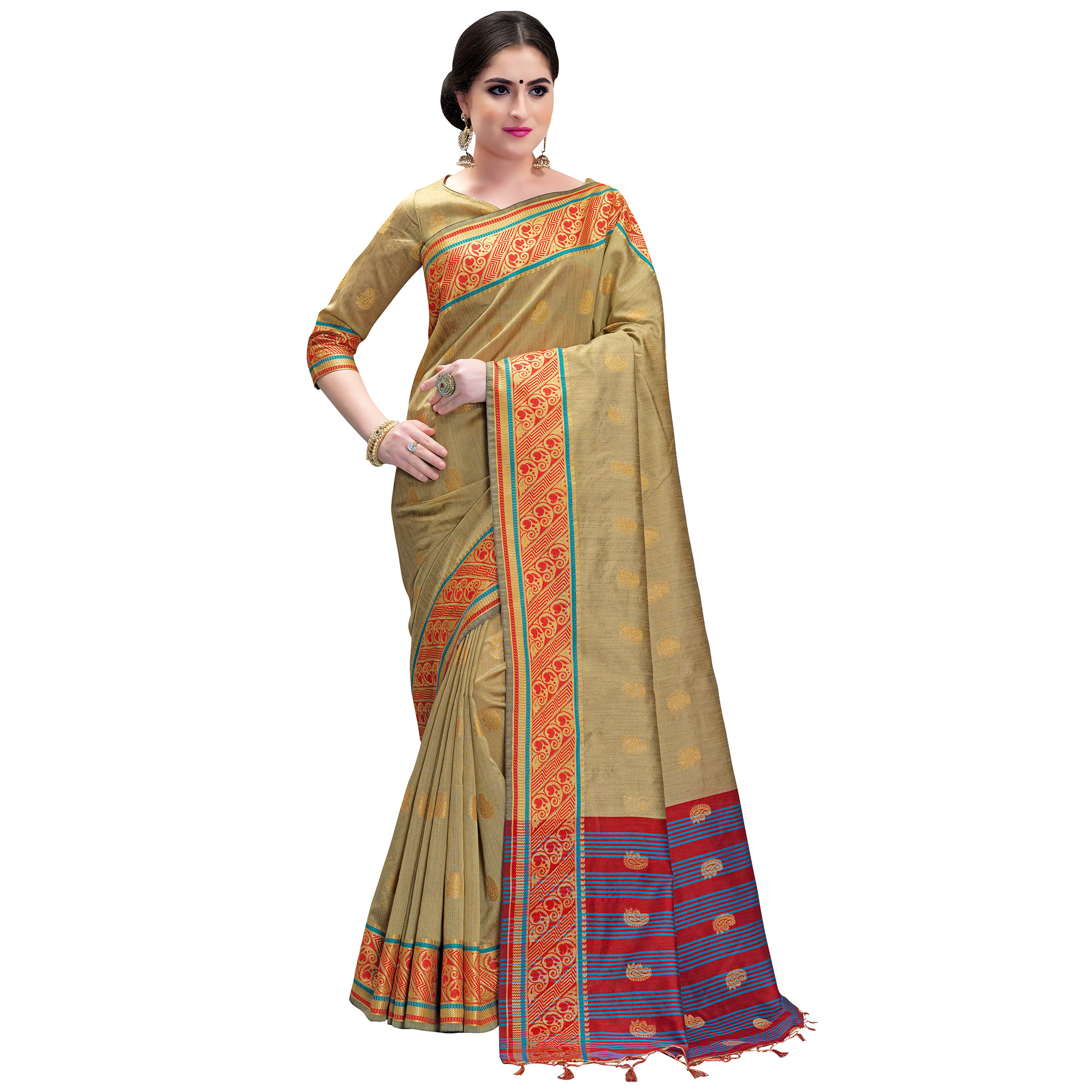 Beautiful Beige Colored Festive Wear Woven Cotton Silk Saree