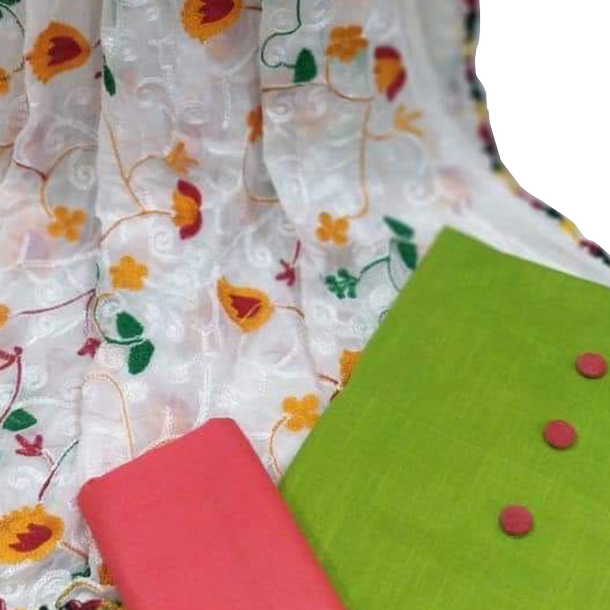 Glowing Green Colored Embroidered Cotton Dress Material