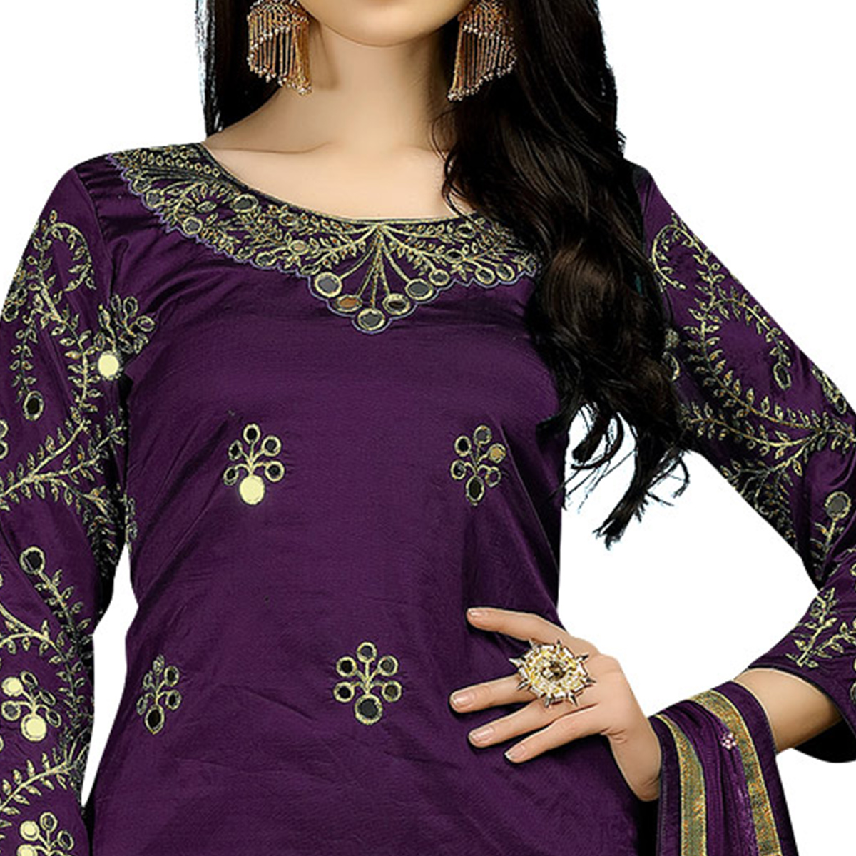 Pretty Purple Colored Partywear Embroidered Tapeta Silk Suit