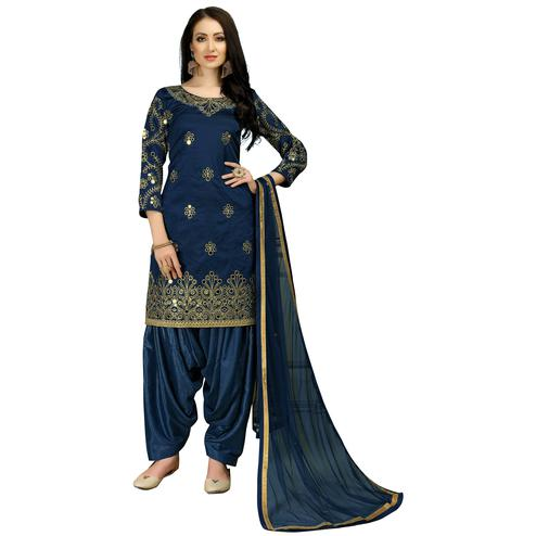 Demanding Navy Blue Colored Partywear Embroidered Tapeta Silk Suit