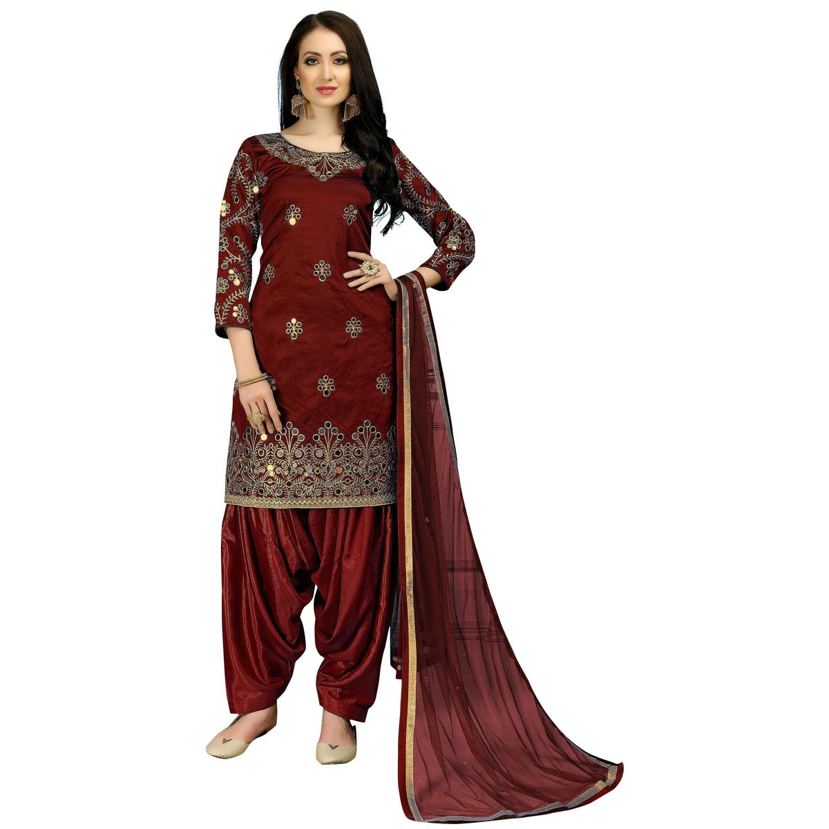 Trendy Maroon Colored Partywear Embroidered Tapeta Silk Suit