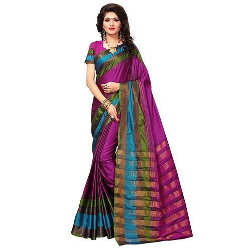 Pretty Purple Colored Festive Wear Woven Cotton Silk Saree