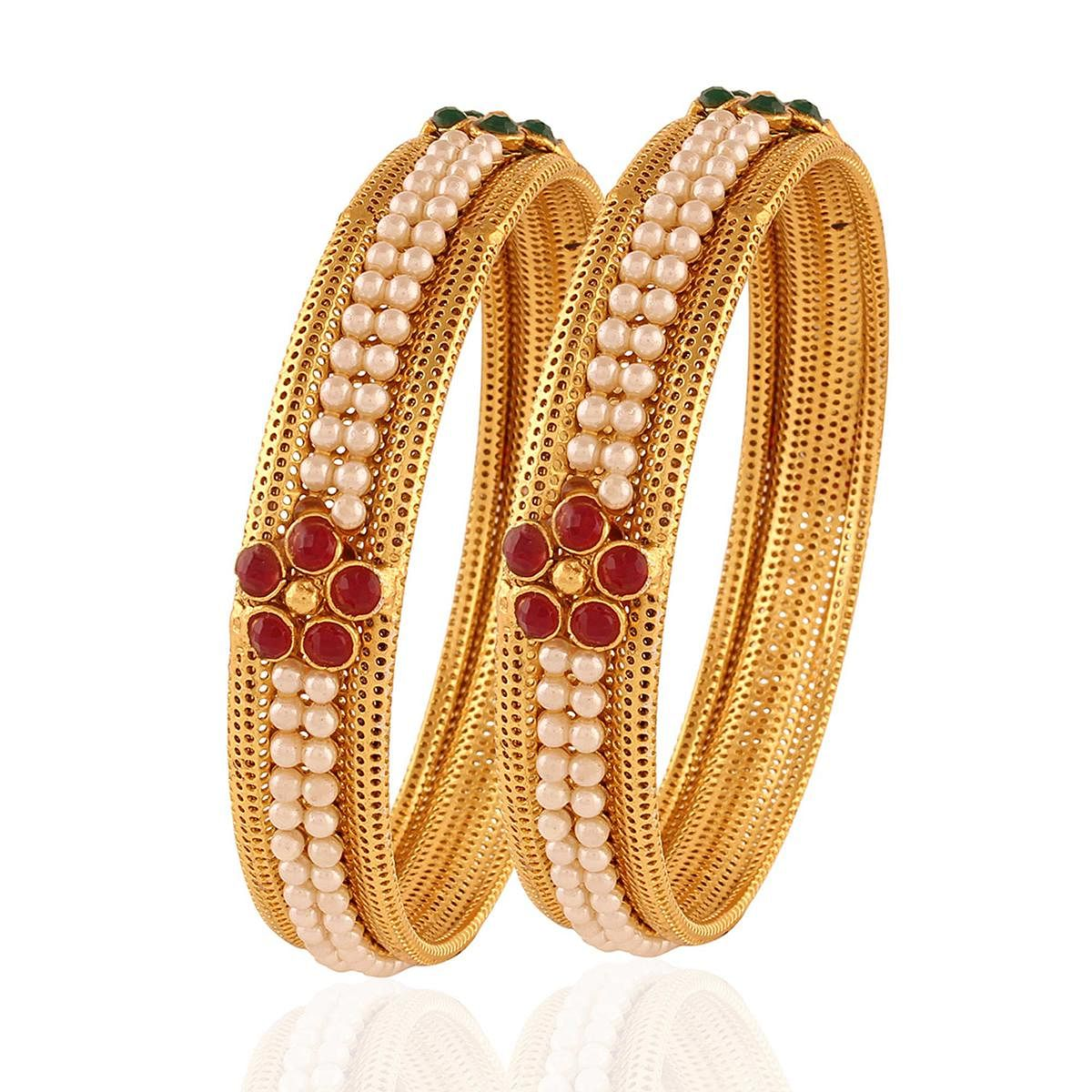 Gold plated maroon green pearl partywear bangle
