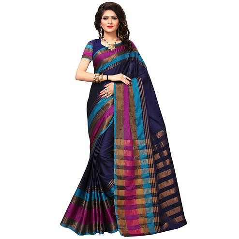 Lovely Navy Blue Colored Festive Wear Woven Cotton Silk Saree