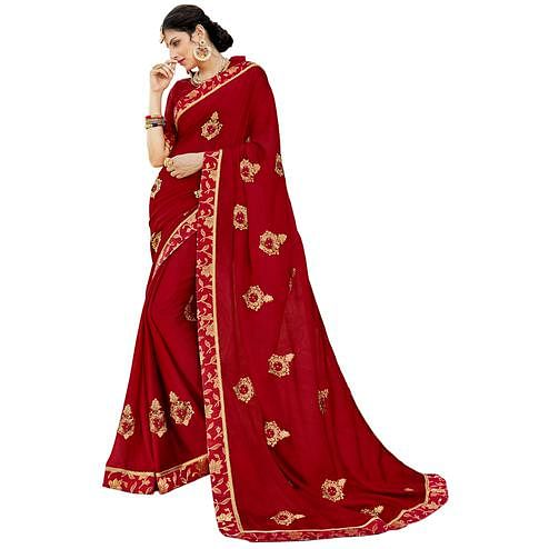 Attractive Maroon Colored Partywear Embroidered Chiffon Silk Saree