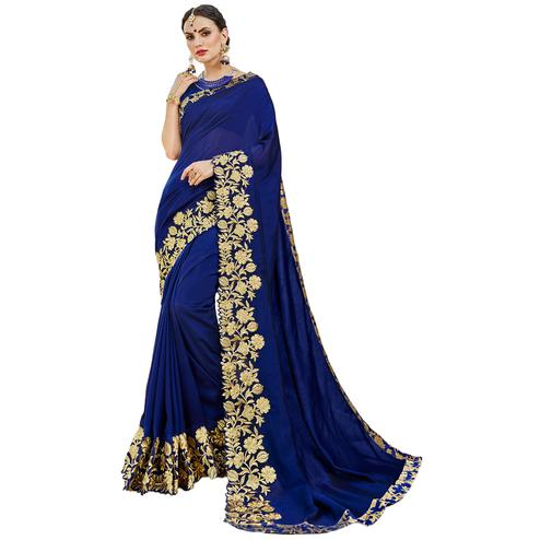 Desiring Navy Blue Colored Partywear Embroidered Art Silk Saree