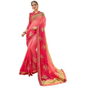 Fantastic Pink Colored Partywear Embroidered Chiffon Silk Saree