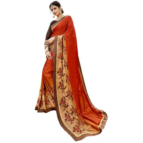 Unique Rust Orange Colored Partywear Embroidered Art Silk Saree