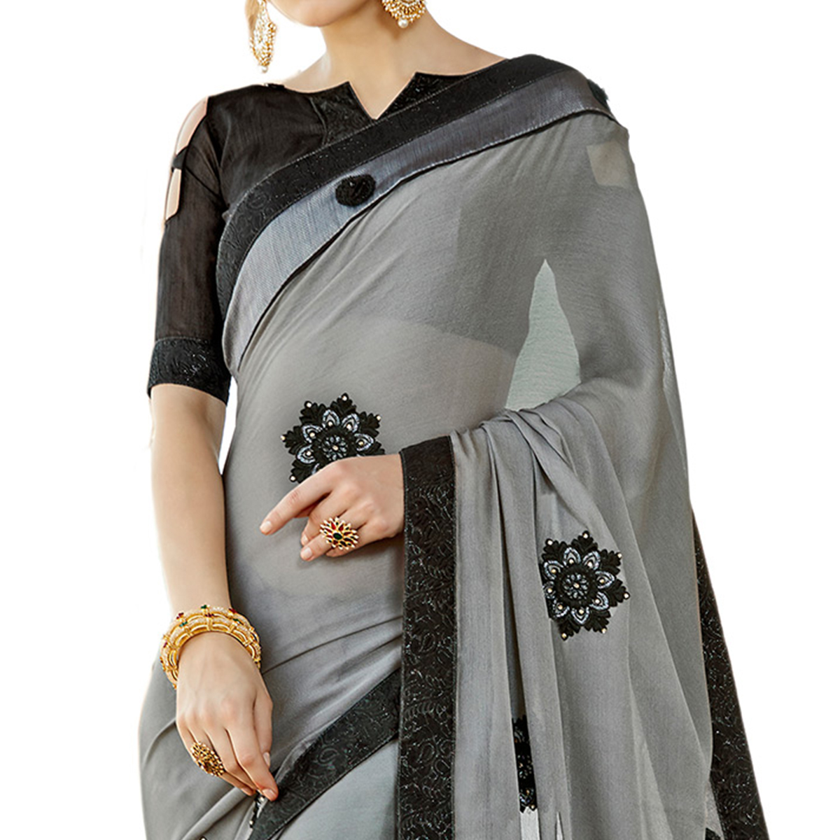Trendy Gray Colored Partywear Embroidered Chiffon Silk Saree