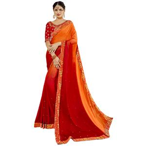 Exceptional Orange-Red Colored Partywear Embroidered Georgette Silk Saree