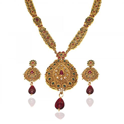 Gorgeous Design Maroon & Green Necklace Set
