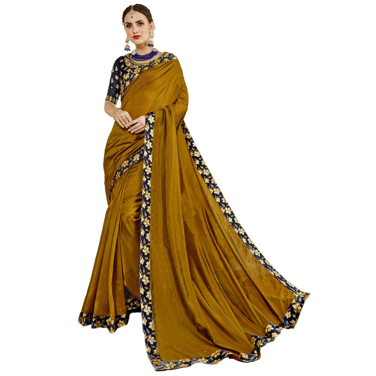buy irresistible olive green colored partywear embroidered art silk