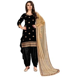 Attractive Black Colored Party Wear Embroidered Velvet Suit