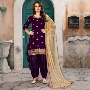 Desiring Purple Colored Party Wear Embroidered Velvet Suit