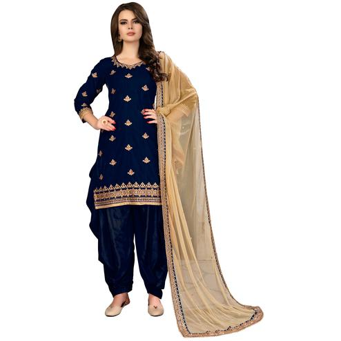 Trendy Navy Blue Colored Party Wear Embroidered Velvet Suit