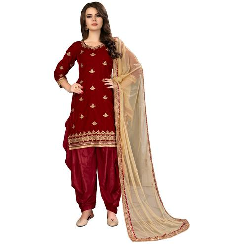 Glowing Red Colored Party Wear Embroidered Velvet Suit