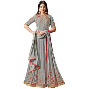 Hypnotic Gray Colored Partywear Embroidered Crepe Anarkali Suit