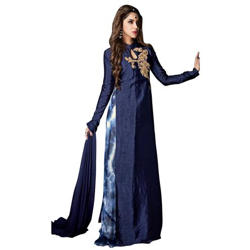 Arresting Navy Blue Colored Partywear Embroidered Banarasi Silk Anarkali Suit