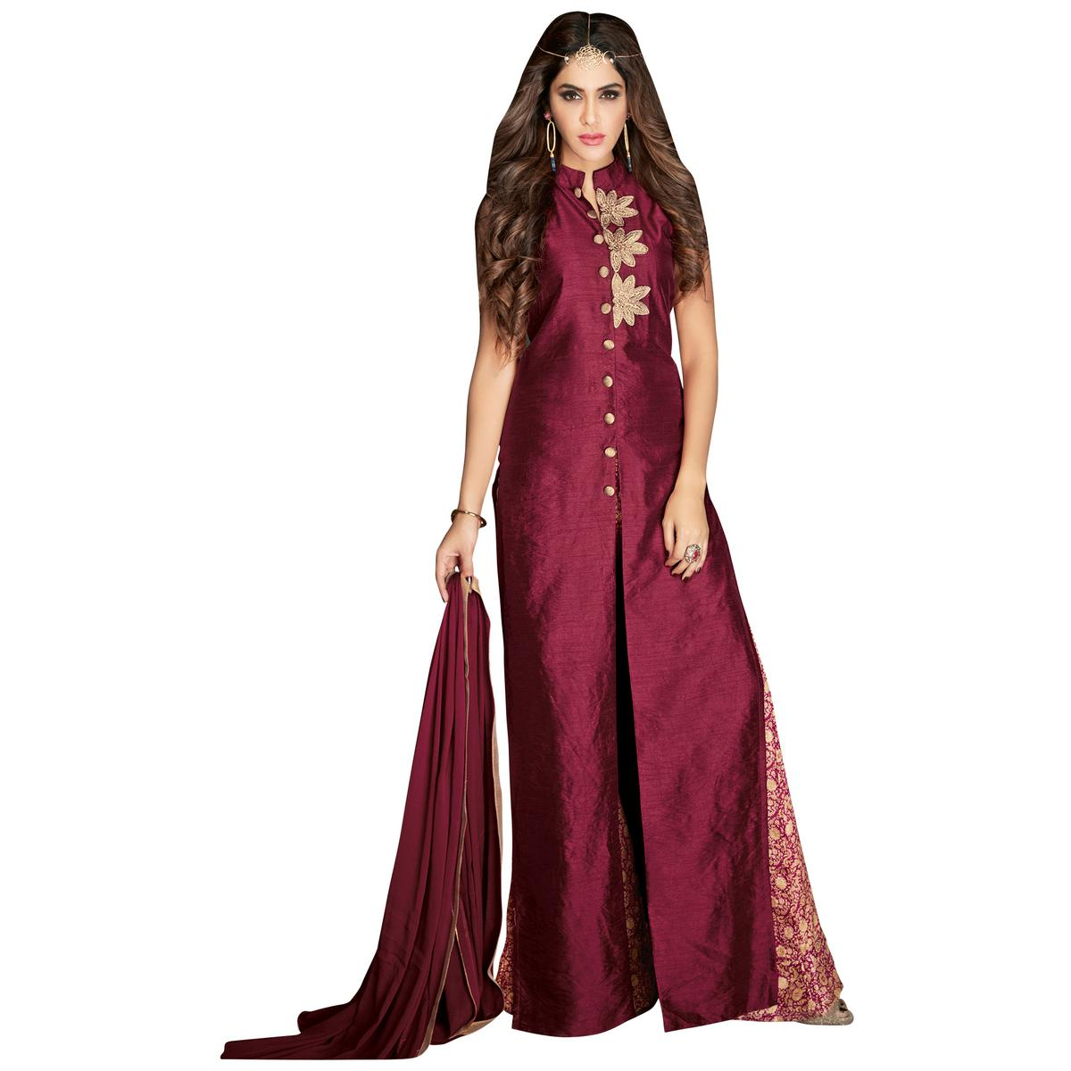 Exceptional Wine Colored Partywear Embroidered Banarasi Silk Anarkali Suit