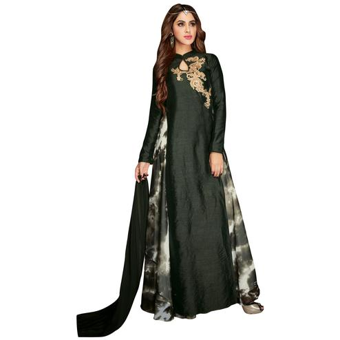 Glowing Green Colored Partywear Embroidered Banarasi Silk Anarkali Suit