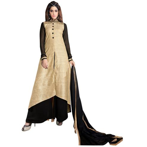 Blooming Beige Colored Partywear Embroidered Silk Palazzo Suit
