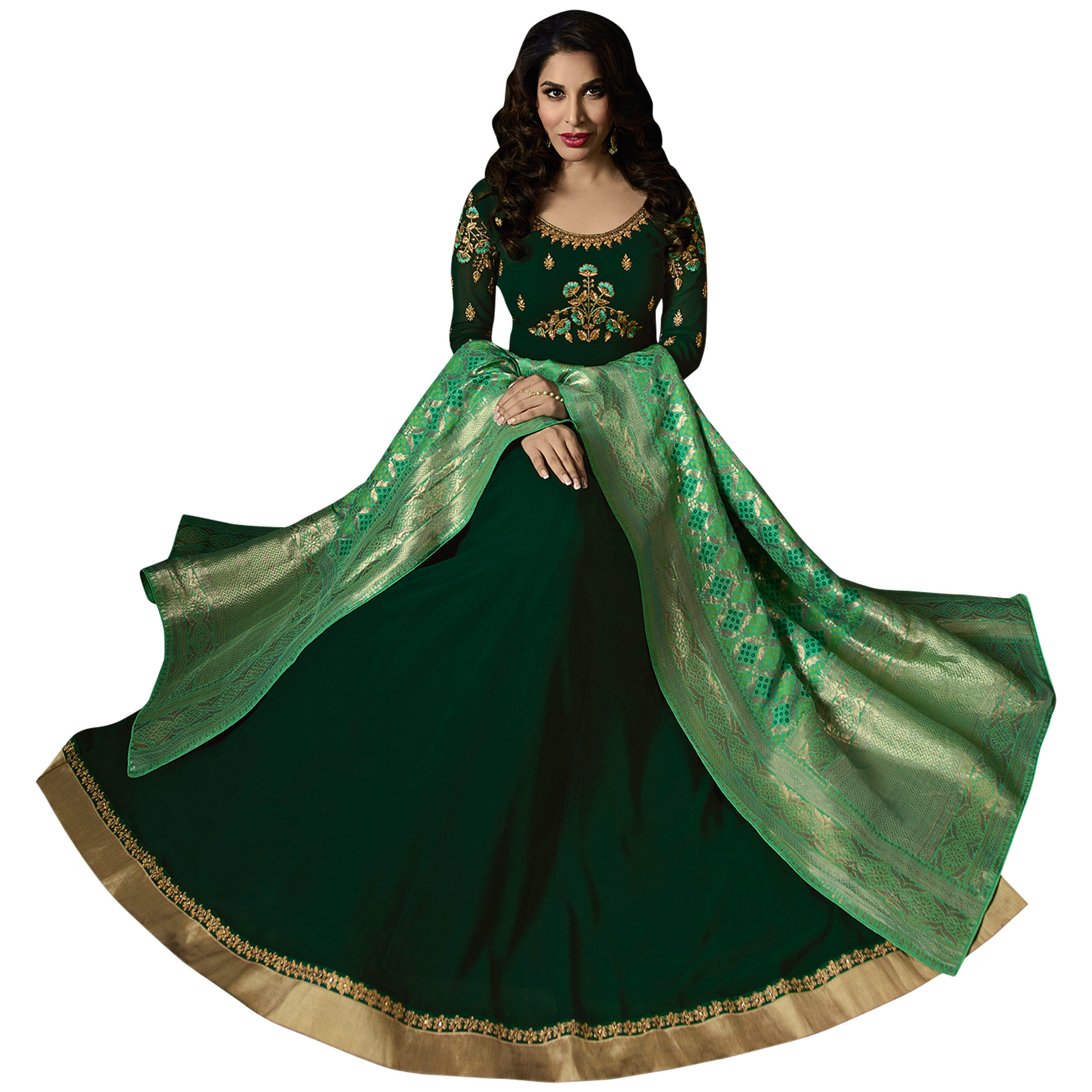 Majestic Dark Green Colored Embroidered Georgette Anarkali Suit With Pure Banarasi Silk Dupatta