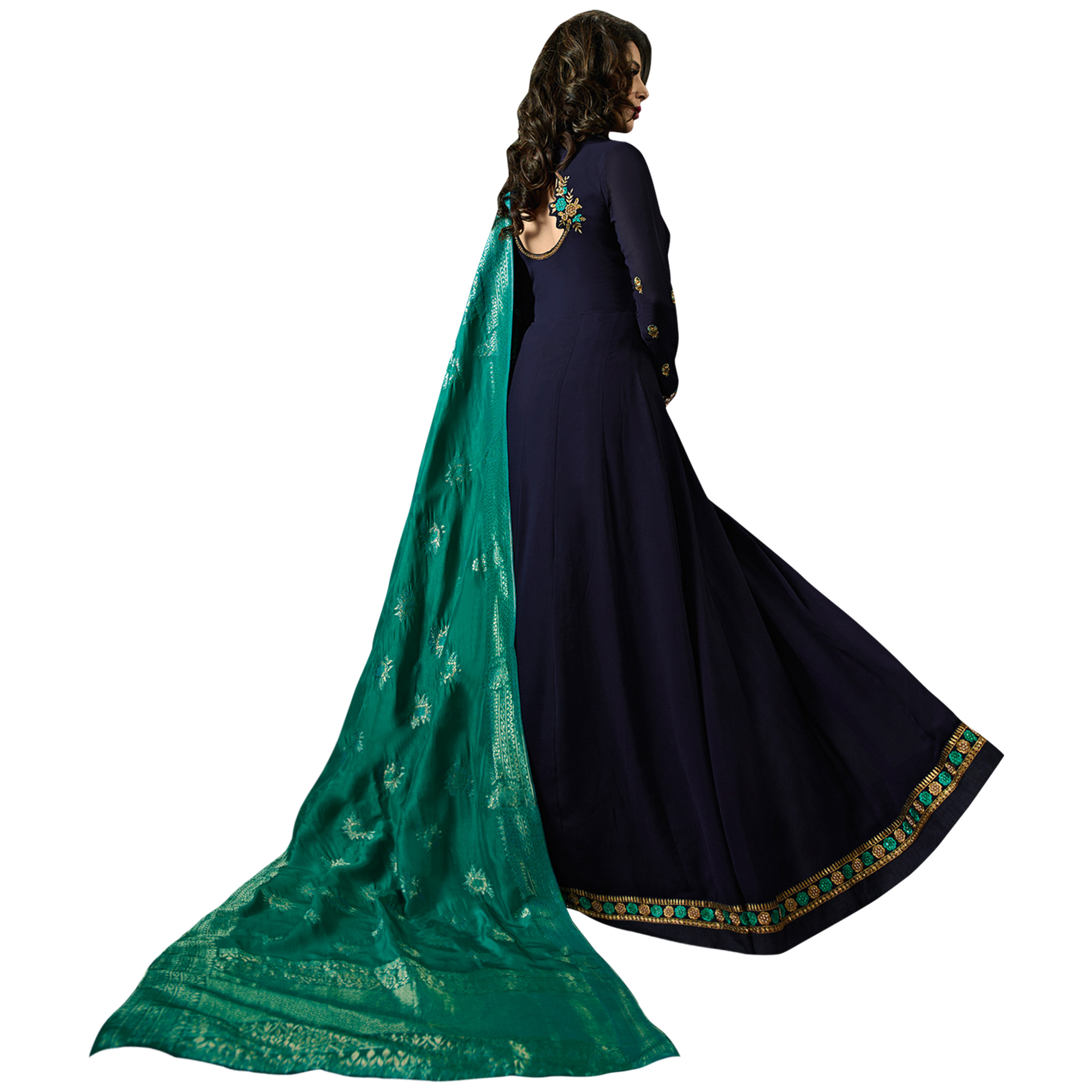 Desiring Navy Blue Colored Embroidered Georgette Anarkali Suit With Pure Banarasi Silk Dupatta