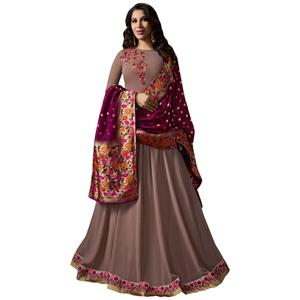 Exceptional Light Wine Colored Embroidered Georgette Anarkali Suit With Pure Banarasi Silk Dupatta