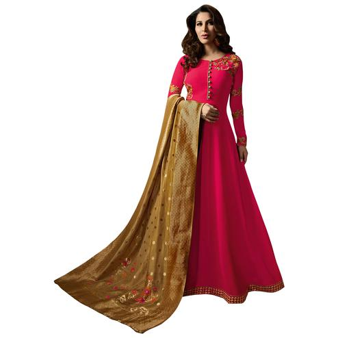 Charming Pink Colored Embroidered Georgette Anarkali Suit With Pure Banarasi Silk Dupatta