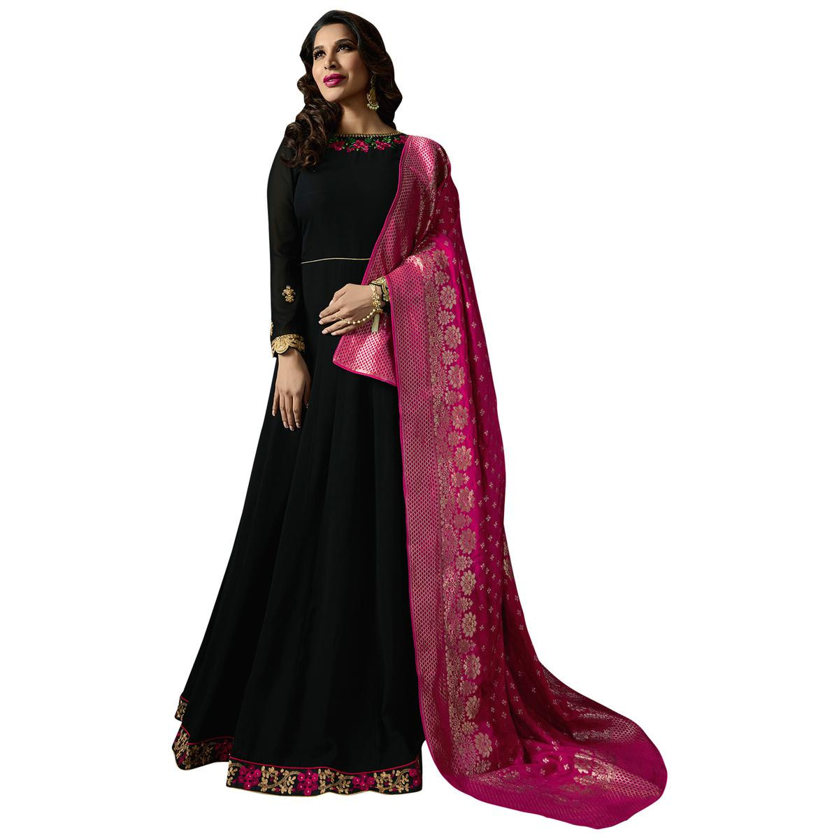 Hypnotic Black Colored Embroidered Georgette Anarkali Suit With Pure Banarasi Silk Dupatta