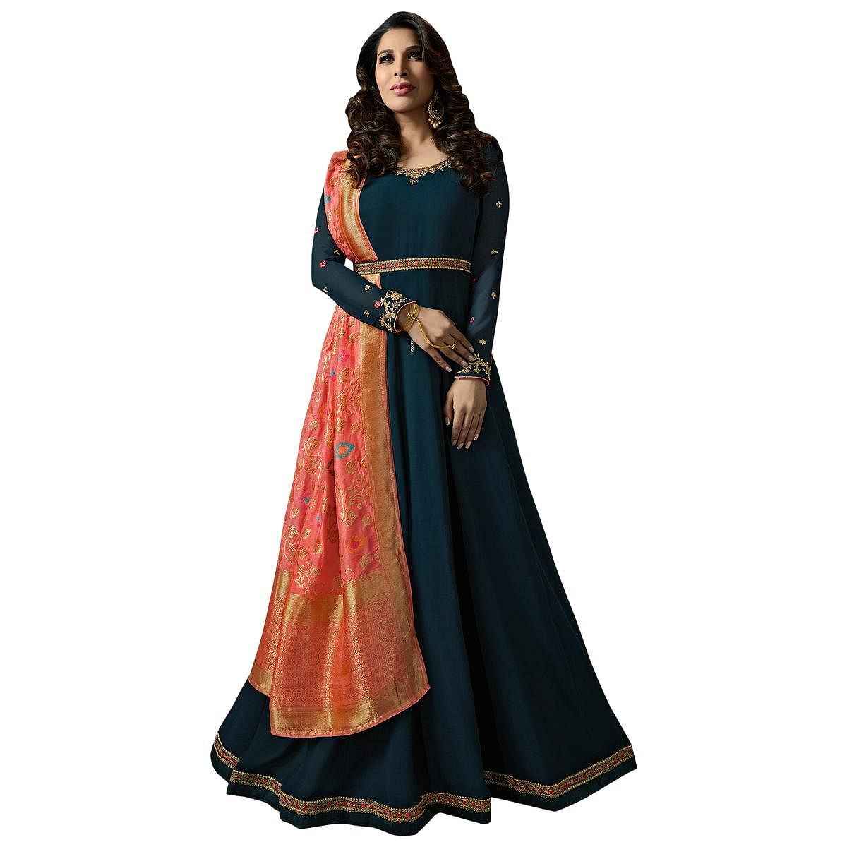 Attractive Teal Blue Colored Embroidered Georgette Anarkali Suit With Pure Banarasi Silk Dupatta