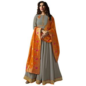 Adorning Gray Colored Embroidered Georgette Anarkali Suit With Pure Banarasi Silk Dupatta