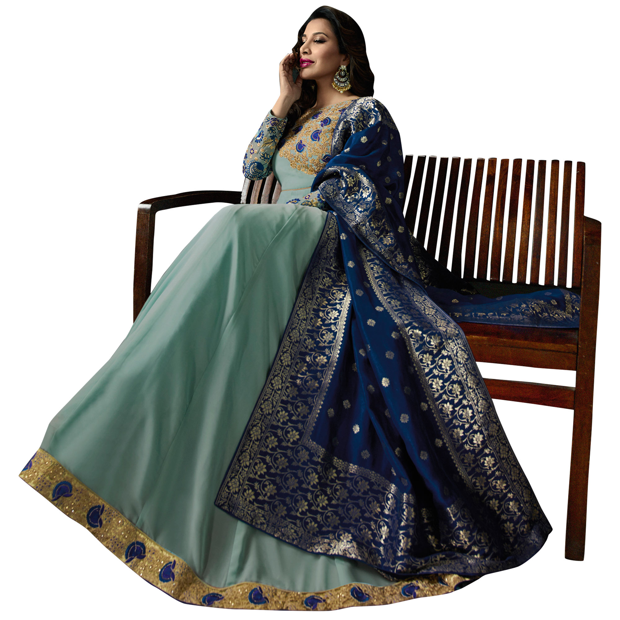 Different Aqua Blue Colored Embroidered Georgette Anarkali Suit With Pure Banarasi Silk Dupatta