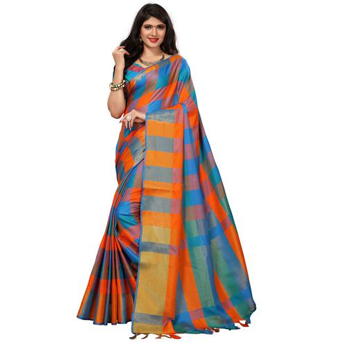 Different Blue-Orange Colored Festive Wear Woven Cotton Silk Saree
