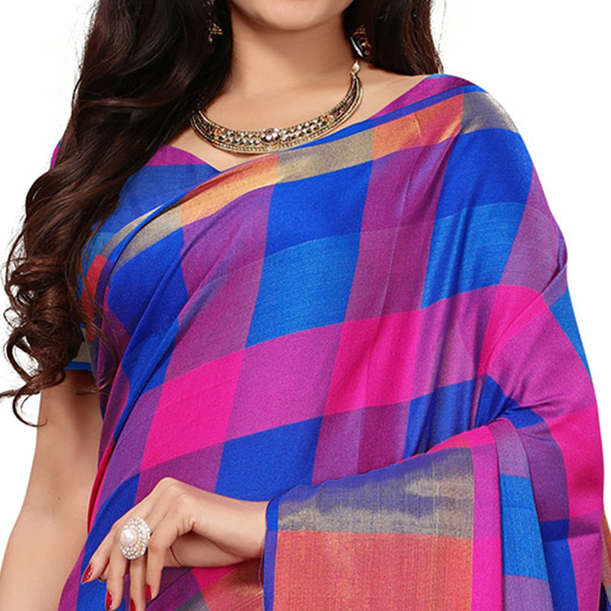 Charming Blue-Pink Colored Festive Wear Woven Cotton Silk Saree