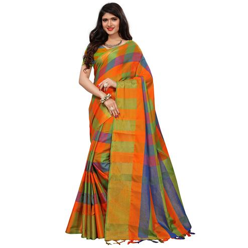 Eye-Catching Multi Colored Festive Wear Woven Cotton Silk Saree