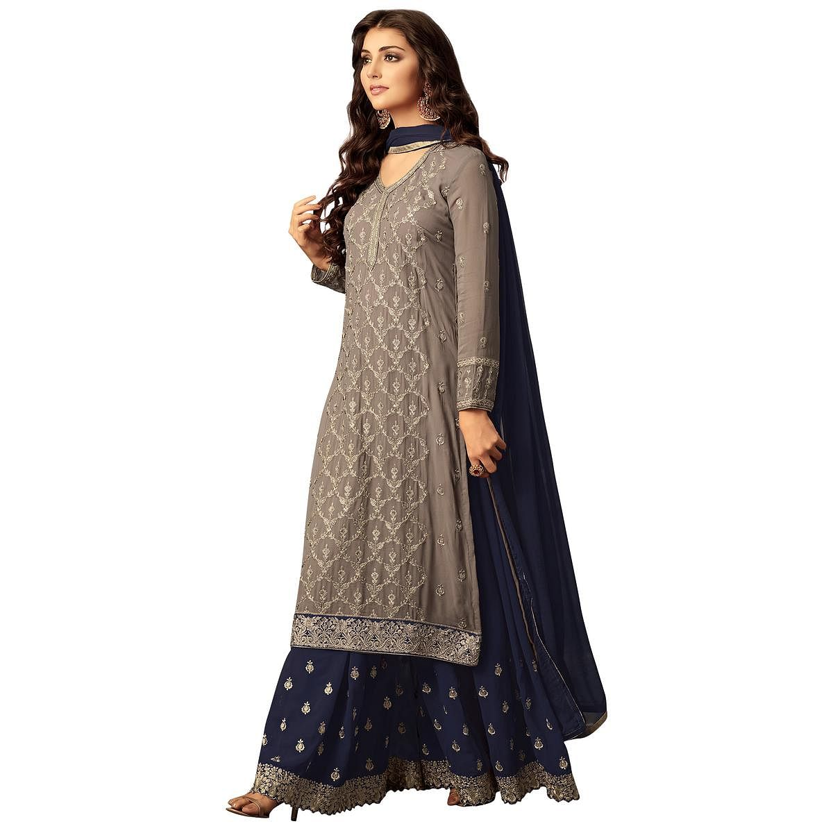 Graceful Grey Colored Party Wear Embroidered Georgette Suit