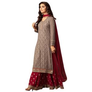 Glorious Grey Colored Party Wear Embroidered Georgette Suit