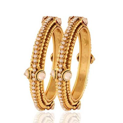 Gold plated exclusive white stone bangle