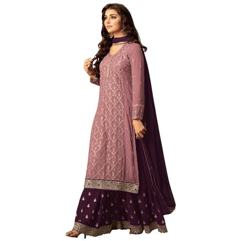 Charming Pink Colored Party Wear Embroidered Georgette Suit