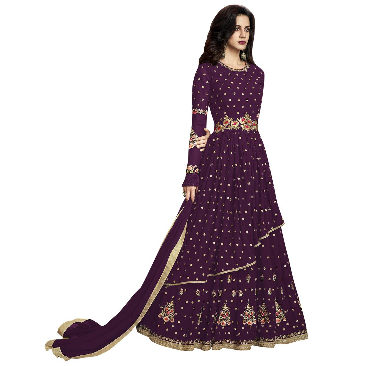Attractive Purple Colored Partywear Embroidered Georgette Anarkali Suit