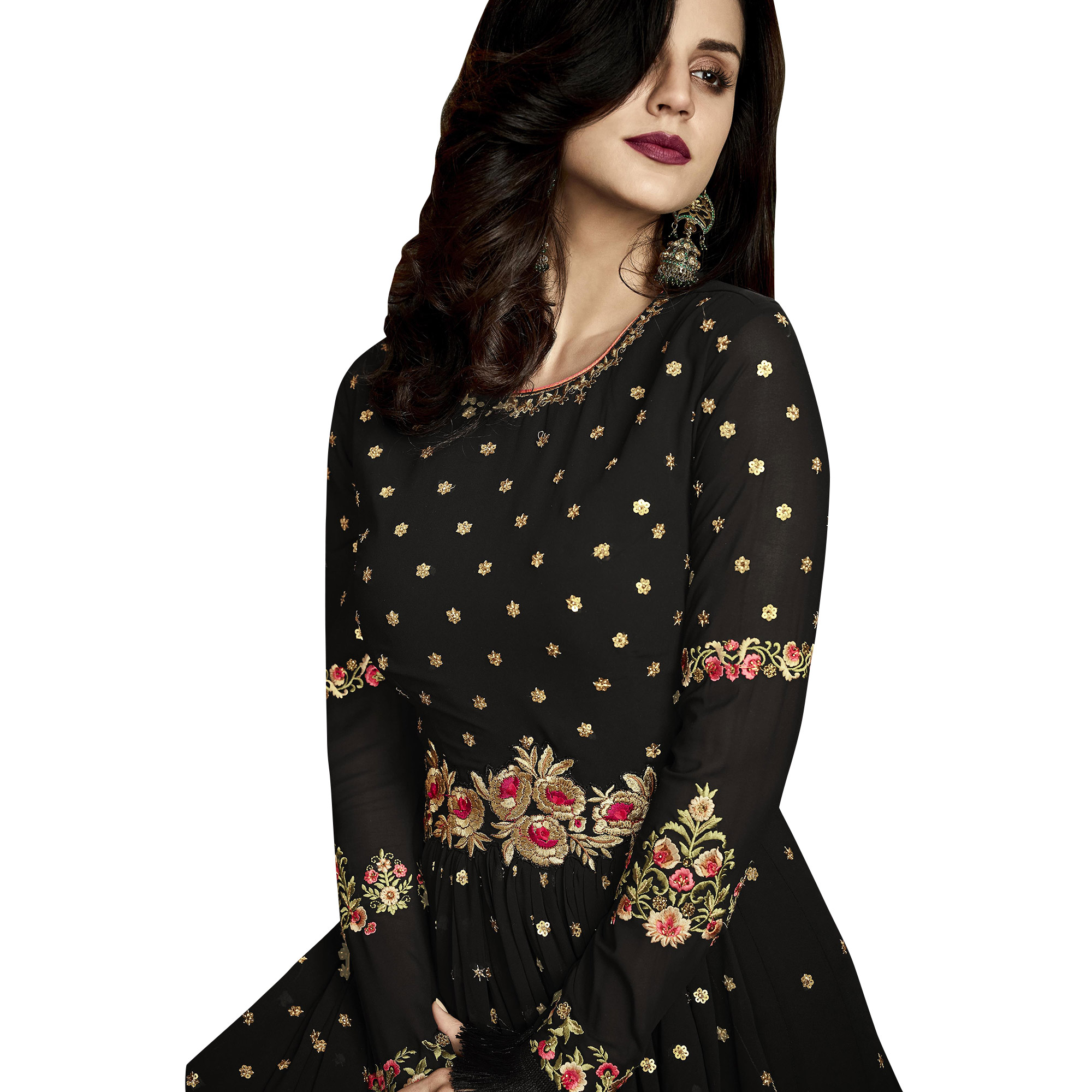 Stunning Black Colored Partywear Embroidered Georgette Anarkali Suit