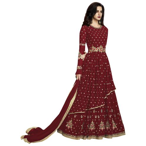 Trendy Red Colored Partywear Embroidered Georgette Anarkali Suit