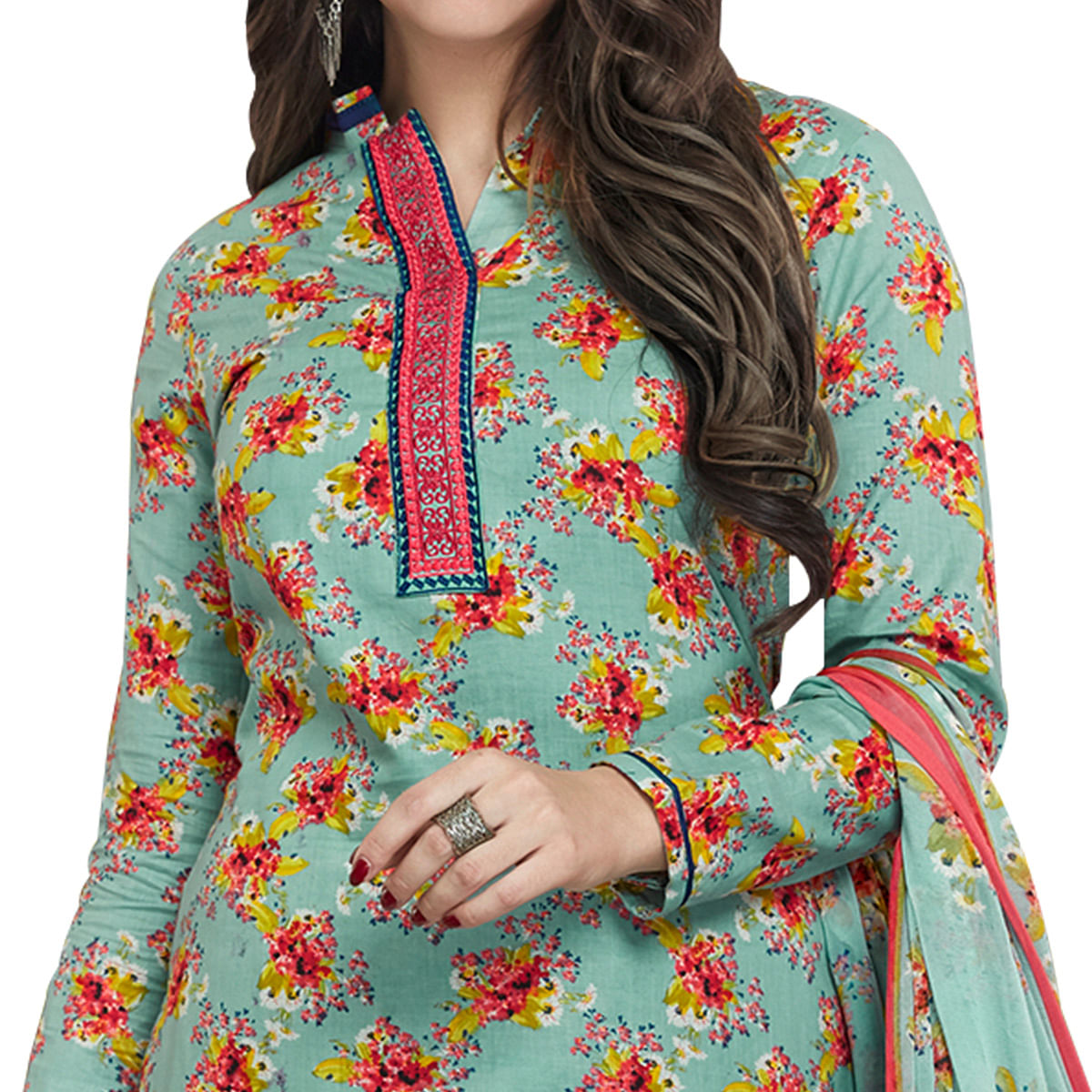 Different Pastel Teal Colored Casual Printed Cotton Dress Material