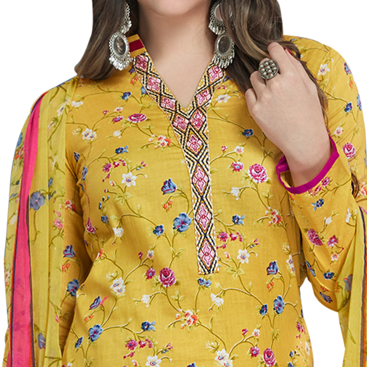 Adorning Yellow Colored Casual Printed Cotton Dress Material