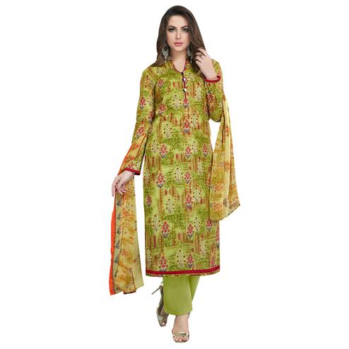 Refreshing Green Colored Casual Printed Cotton Dress Material