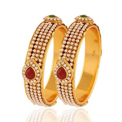 Gold plated maroon green pearl designer bangle