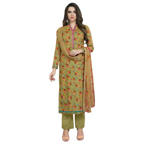 Appealing Olive Green Colored Casual Printed Cotton Dress Material